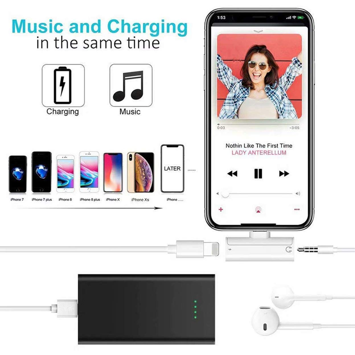 Adaptador de Auriculares para iPhone Audio Dongle Jack de 3,5 mm Convertidor de Cable Adaptador de Cable Compatible para iPhone XS//XR//X 7//7 Plus Accesorios para Auriculares Todo iOS 8//8 Plus
