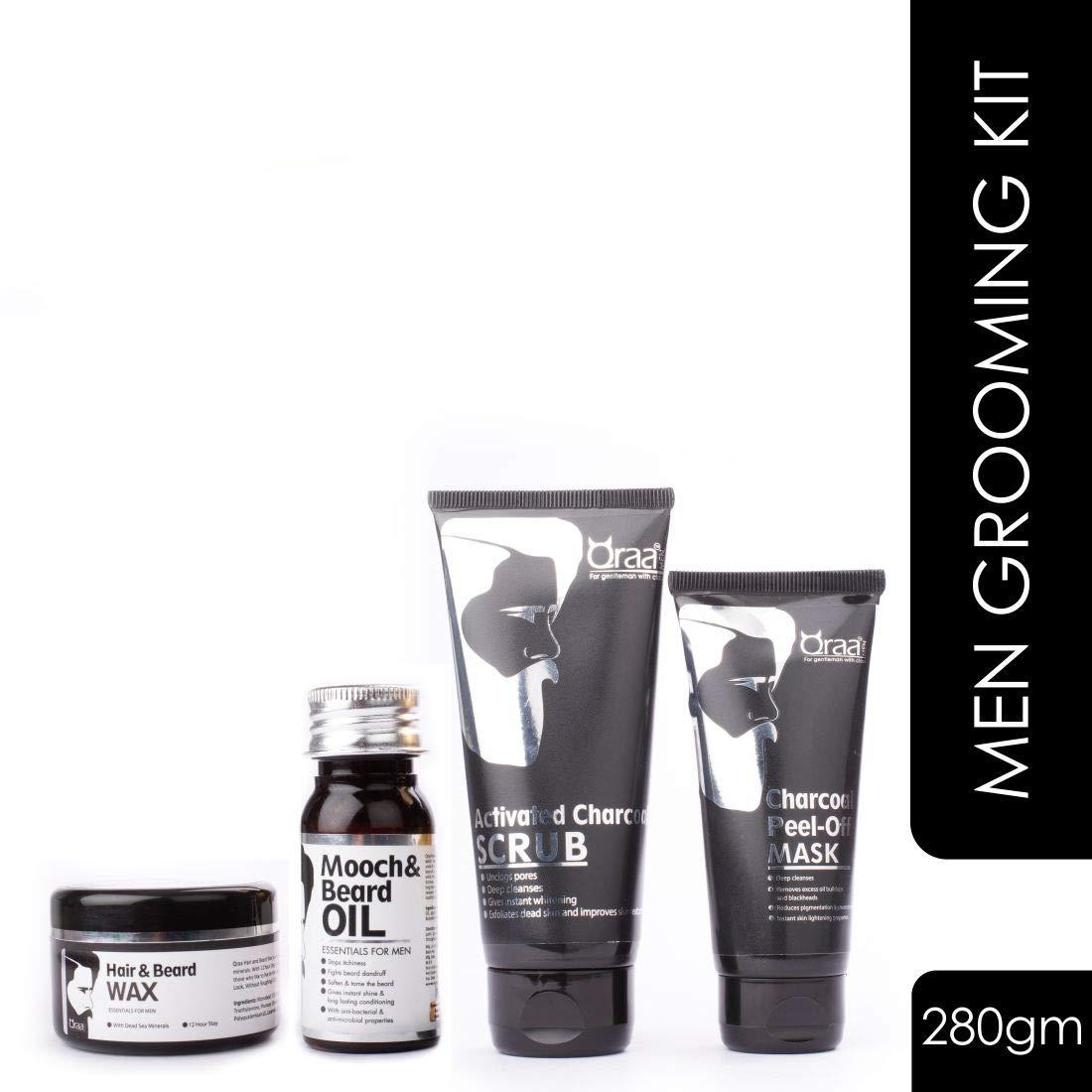 Qraa Men Grooming Kit - Pack of Charcoal Scrub/Charcoal Peel Off/Hair and Beard Wax/Mooch and Beard Oil,280g