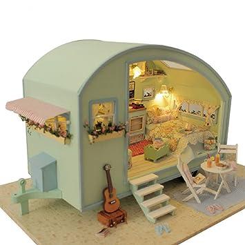 Toyvian Puppenhaus Mini Wohnmobil Miniatur Diy Haus Kit Kreative