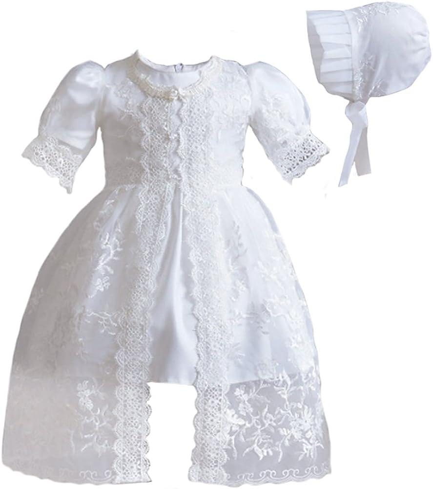 Baby Flower Girls White Dress Organza 2 Pc Gown Christening Baptism Bonnet New