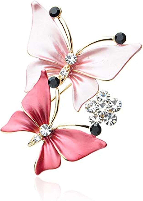 Fengteng Mode Double Papillon Cristal Broche Broche Foulard en Soie Boucle Bijoux pour Femme