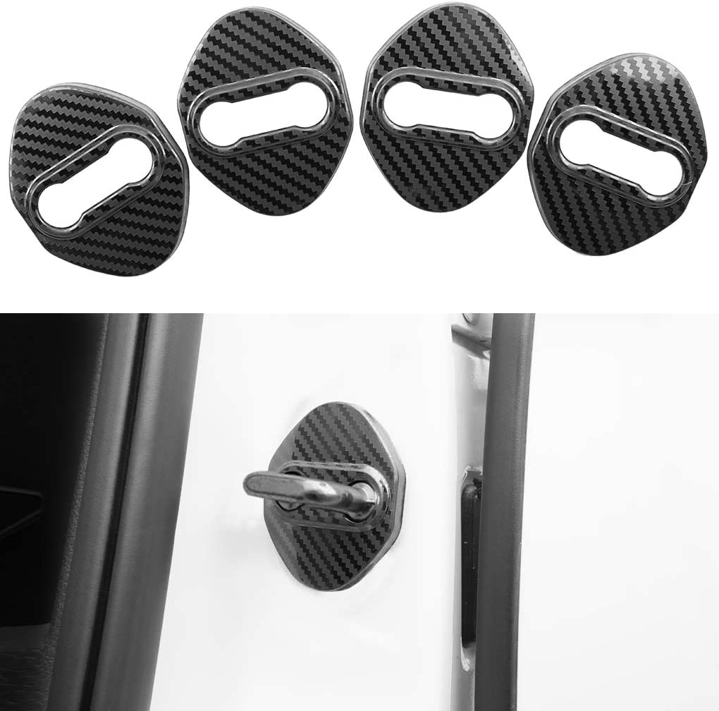 HANBAO Stainless Steel Car Door Lock Latches Cover Protector Replacement for Mazda 3 6 Sedan Hatchback CX-3 CX-5 CX-9 Car 3M Adhesive Backing 4PCS Black
