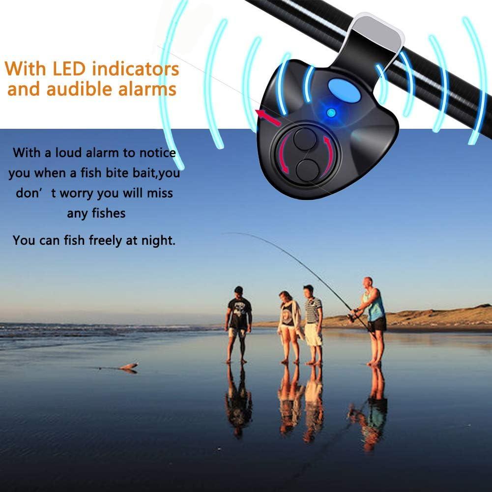 Karpfenangeln Qzc Bissanzeiger schwarzes elektronisches LED-Licht zum Angeln von Bissger/äuschen mit Klammern Angelzubeh/ör f/ür Catangeln Nachtangeln 3 St/ück