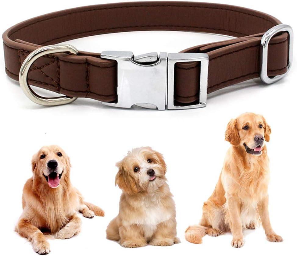 Collar de Perro, BETOY Collar de Cuero para Perros Collares Ajustables para Perros con Hebilla de Metal para el Medio Perro Razas Pequeñas Uso Diario, Ajustable de 27 a 40 cm, Ancho 2 cm(Marrón)