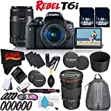 6Ave Canon EOS Rebel T6i DSLR Camera w/18-55mm Lens International Version (No Warranty) + Canon 55-250mm IS STM Lens + Canon EF 200mm f/2.8L II USM Lens 2529A004 + Deluxe Cleaning Kit Bundle