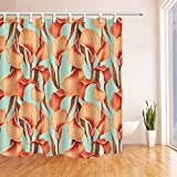 Flower Shower Curtains By KOTOM Hand Painted Flower Pattern Bath Curtains, 72X72 Inches