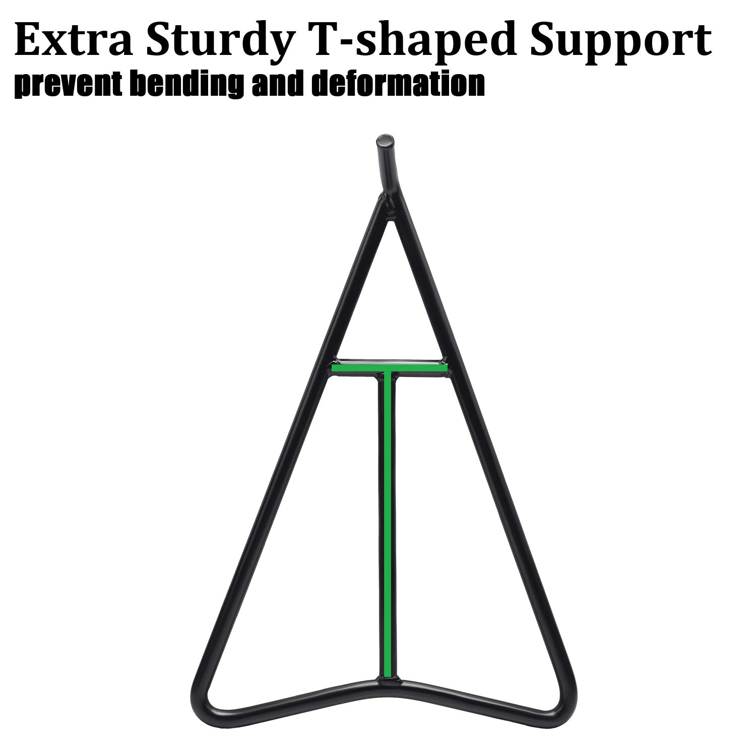 T-shaped Central Support for Greater Bearing Capacity Eapele Triangle Stand for Dirt Bike Solid Steel Structure with Black Powder Coated Protection