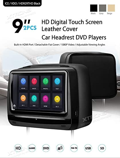 Amazon.es: Xtrons® 2 x 9 Pulgadas Par Pantalla táctil Coche Auto reposacabezas Reproductor de DVD Juego Puerto 1080P vídeo HDMI Integrado Auriculares ...