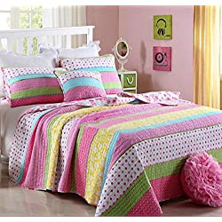 Best Comforter Set 3 Pieces Bedding Set Pink Dot Striped Floral Bedspread Quilt Sets for Girl Kids Children Cotton