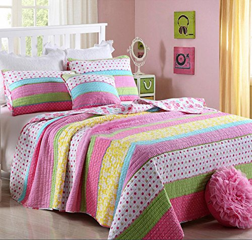 Best Comforter Set 3 Pieces Bedding Set Pink Dot Striped Floral Bedspread Quilt Sets King for Girl Kids Children Cotton Dot Cotton Quilt