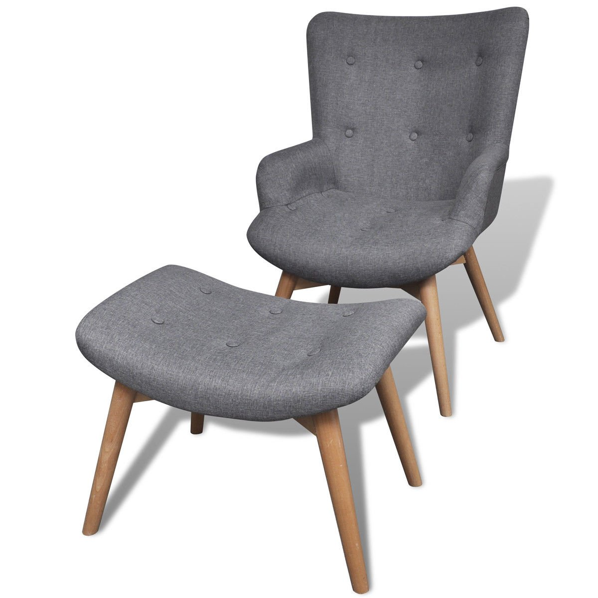 Fabric upholstery and Plywood frame Armchair with Footstool, Gray by HomeSweet