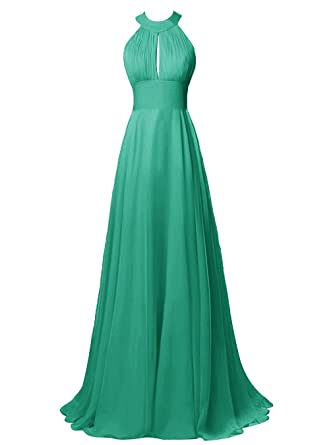 Diansheng Long Halter Chiffon Bridesmaid Dress Sexy Backless Prom Dress Green us17w