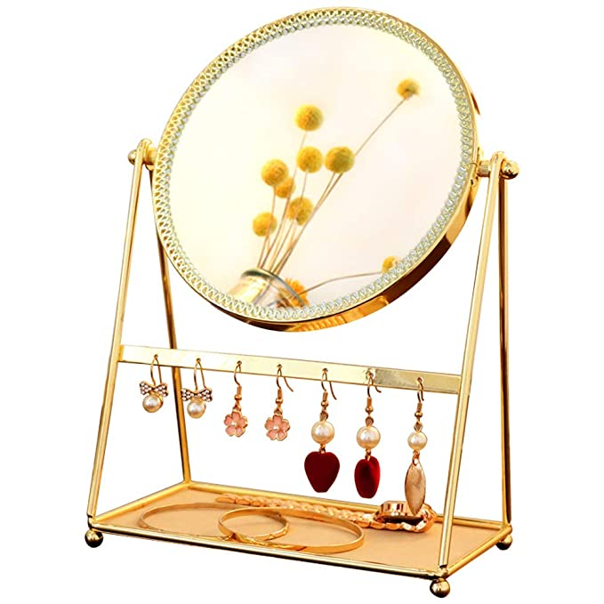 GloDeals Decorative Makeup Mirror Gold Makeup Vanity Mirror Makeup Organizer Cosmetic Mirror Table Standing Rotation Mirror with Jewelry Tray Earrings Holder(Gold)