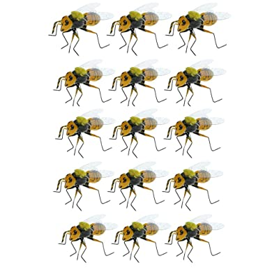 LOVIVER 15Pcs Wild Bee Lifelike Insect Figurines Wall Hanging Art Home Decoration : Garden & Outdoor