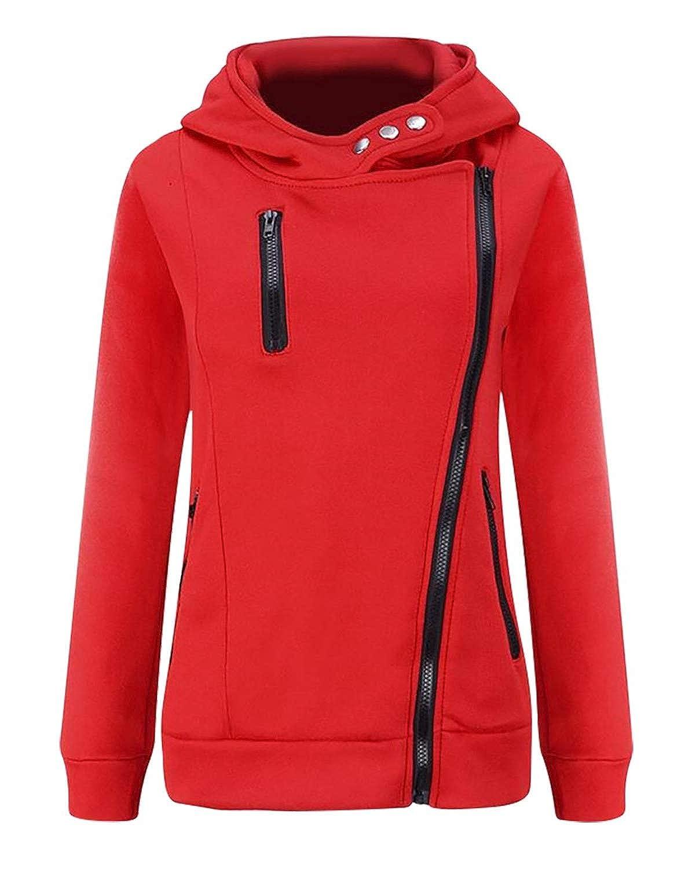Cassiecy Womens Long Sleeve Zipper Hoodie High Neck Casual Jumper Pullover Zip Outwear Sweatshir