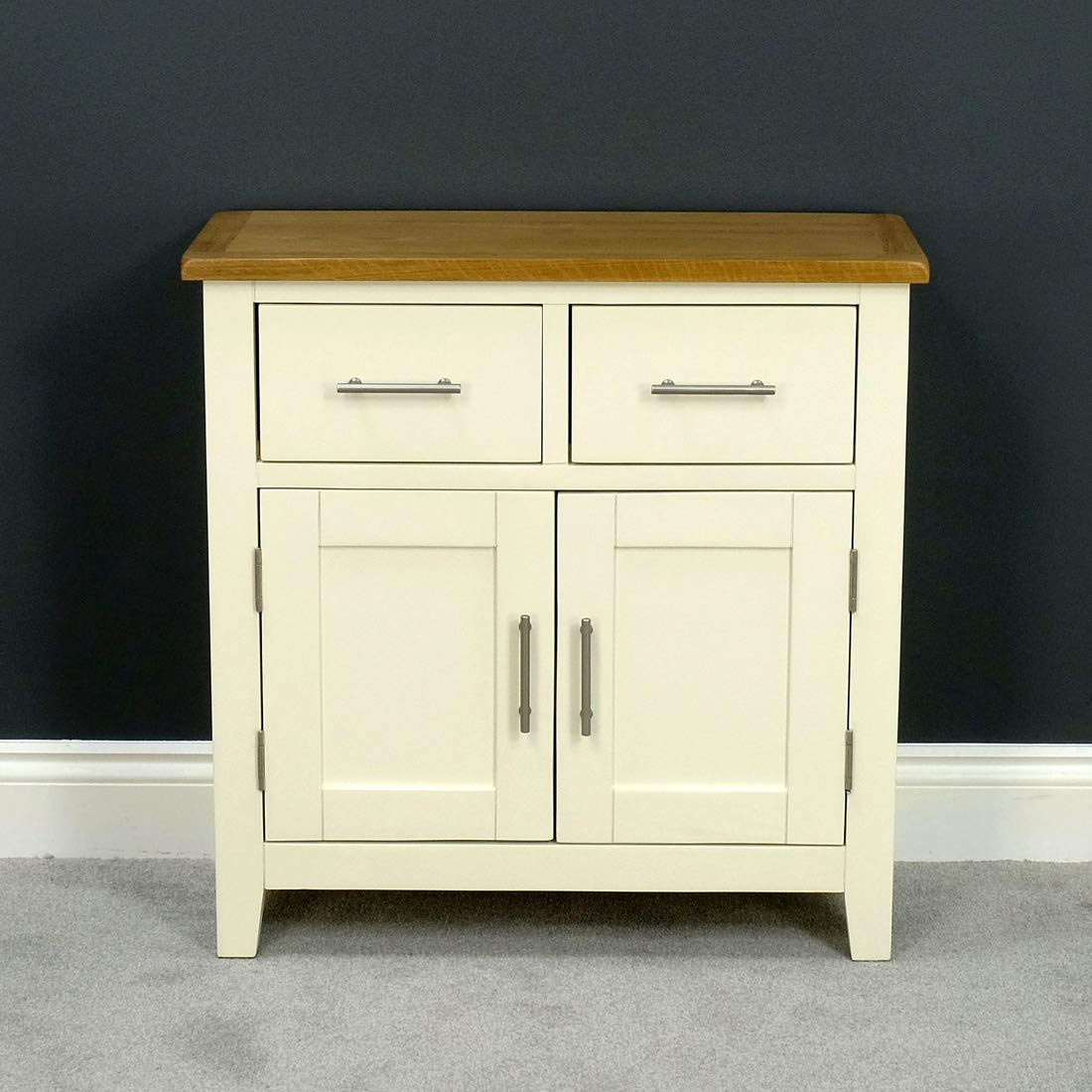 Nebraska Painted Oak Mini Sideboard//Cream Small 2 Door 2 Drawer Storage Dresser Cupboard Cabinet Unit