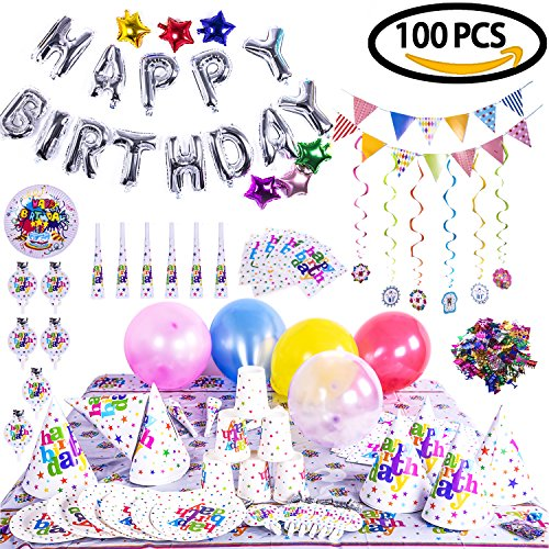 Birthday Party Decoration Children's Theme Assorted Set - Silver Letter Star & Colorful Balloons, Confetti, Banner, Cup, Tablecloth, Napkin, Plates, Flags, Trumpets (Birthday Theme For Boys)
