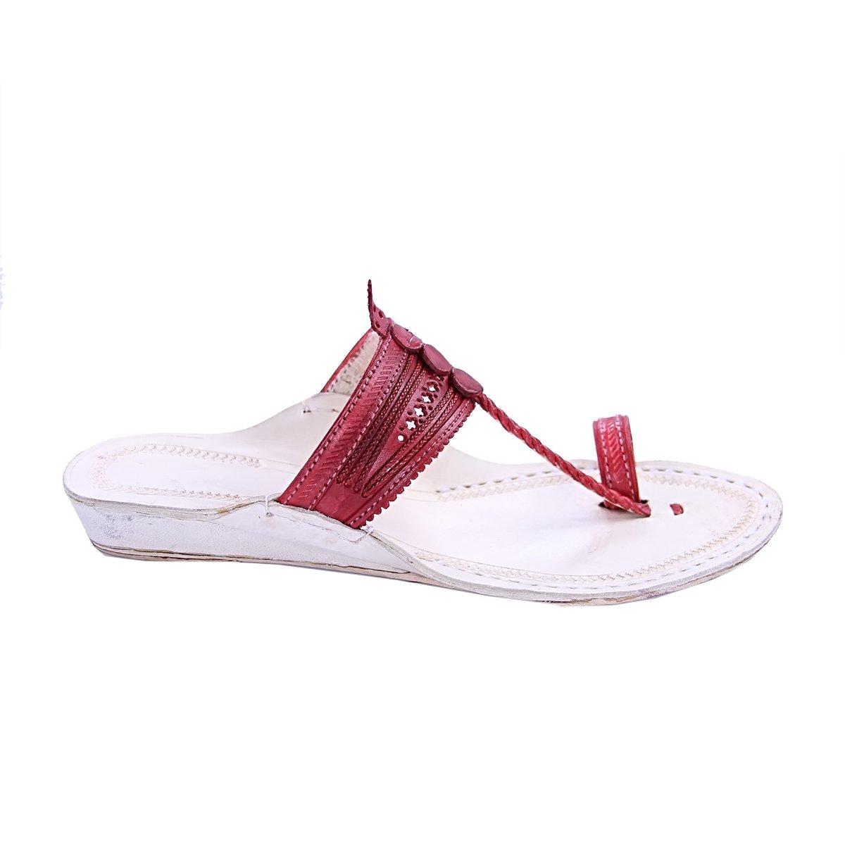 KOLHAPURI CHAPPAL Original Awesome Look Cherry Red Color Platform Heel Ladies Slipper Sandal