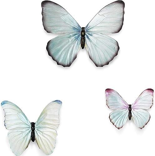 MOCOHANA Modern Design Resin Butterfly Wall Art 3D Wall Decor Sculpture Blue Set