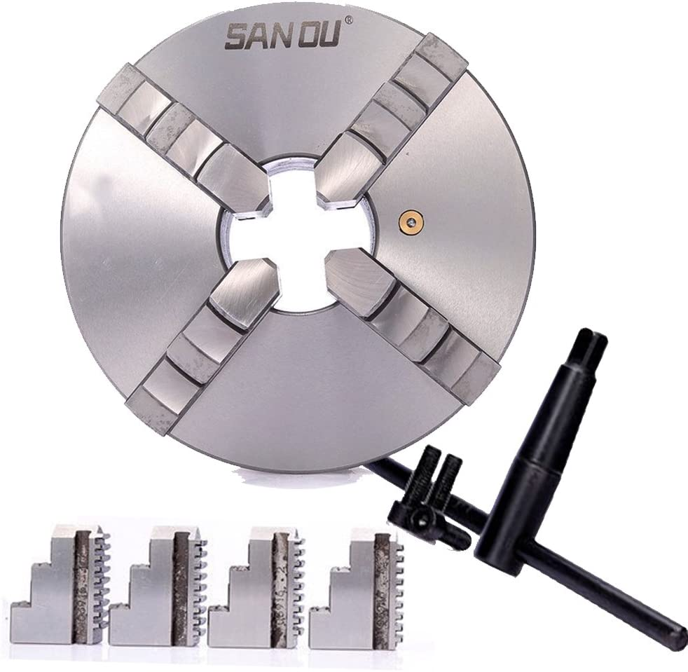 4 inch Lathe Chuck 4 Jaw 100mm Self-Centering Hardened Steel Plate Metal Milling