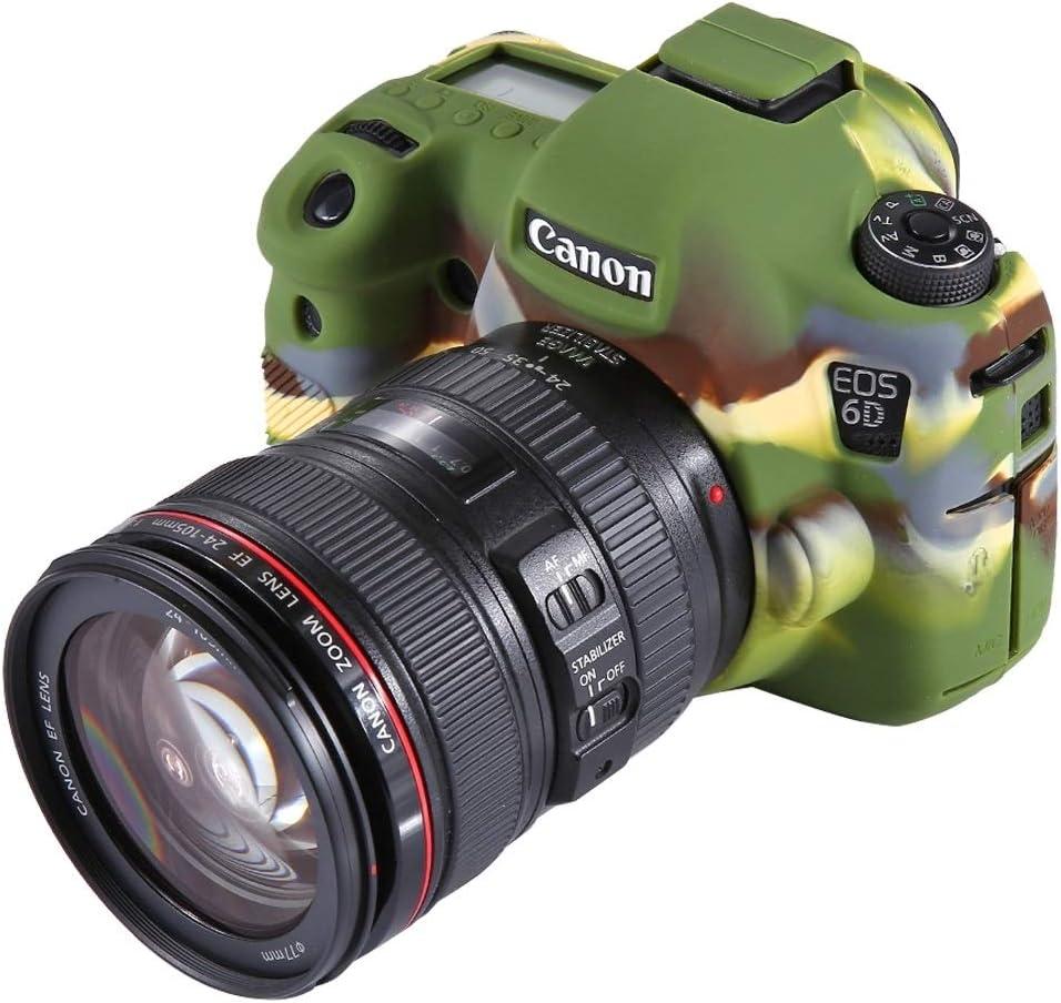 JINGZ Soft Silicone Protective Case for Canon EOS 6D Durable Color : Black