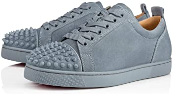 Christian Louboutin Louis Junior Spikes Veau Velours Squale Sneakers Size 10 New Blue