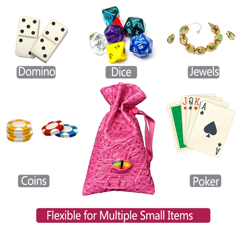 D/&D Drawstring Bag PU Leather Dice Pouch Perfect for Coin Game