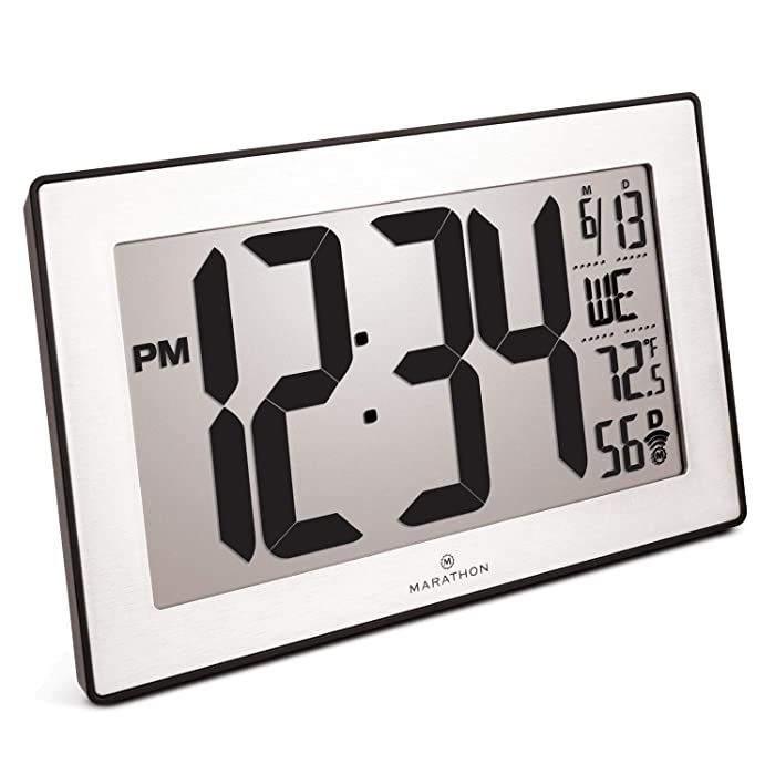 Marathon CL030068BK-SS Slim Panoramic Atomic Full Calendar Wall Clock with 8 Time Zones, Indoor Temperature, and Table Stand - Batteries Included. Color- Black Frame/Stainless Finish