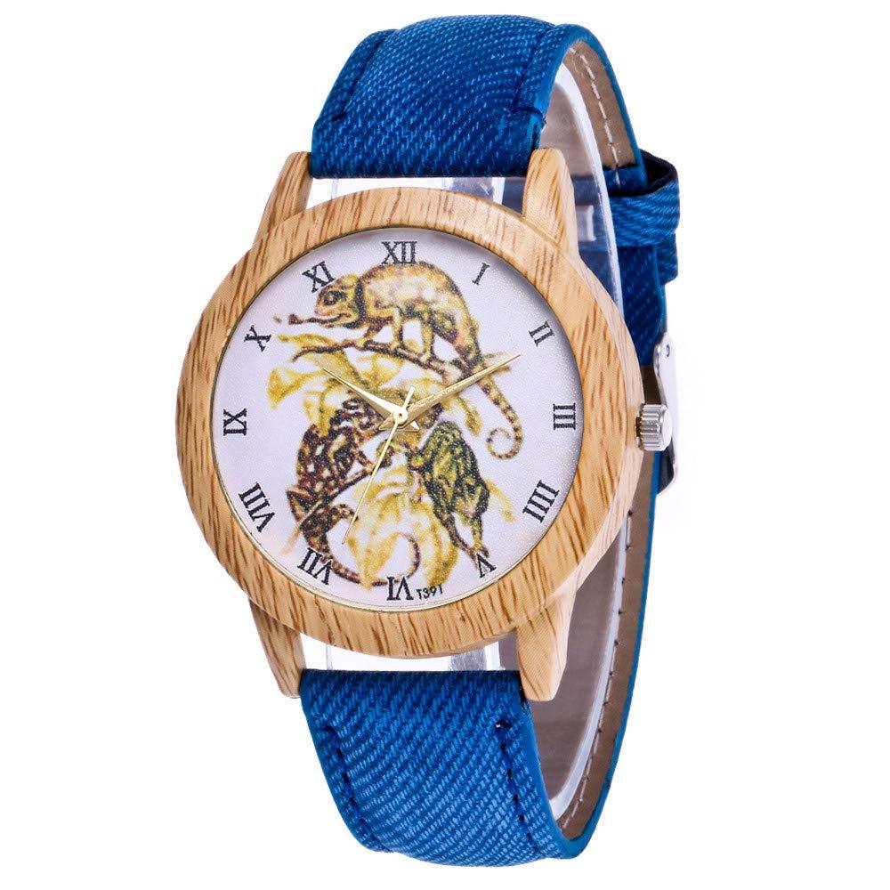Girlfriend Watch Set,Women's Fashion Casual Leather Strap Analog Quartz Round Watch,Blue