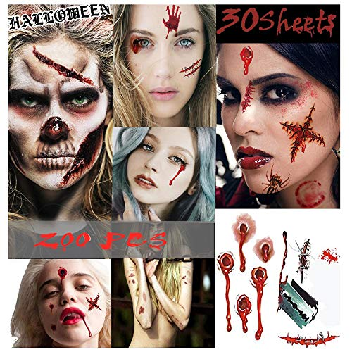Halloween Makeup Ripped Skin (Halloween Tattoos, Scar Wound Temporary Tattoo, 9 Pack Waterproof Horror Realistic Fake Bloody Injury Stitch Scar, Scar Makeup Bleeding Wound Blood for Party Prop, Zombies Cosplay)