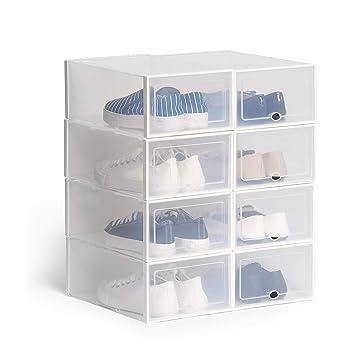 d902c533c4e3b Hapilife 8 pcs boîte à chaussures empilable boîte de rangement de chaussures  en plastique transparent organisateur