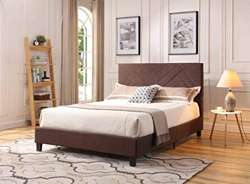 Hodedah HI584 Full Brown Linen Upholstered Platform Bed