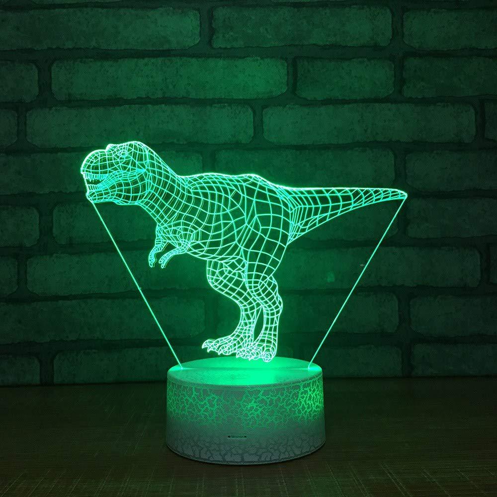 3D Illusion LED Nachtlicht, Tyrannosaurus Rex 7 Farben schrittweiße wechselnden USB Tischlampe Fernbedienung-Beste Geschenk-Spielzeug für Kinder, Weihnachtsgeschenk