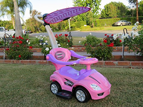 WONDERS SHOP USA - New Kid Ride On 3 in 1 DELUXE MEGA CAR PINK With Removable Canopy Toddler Wagon Handle (Wagon Girl)