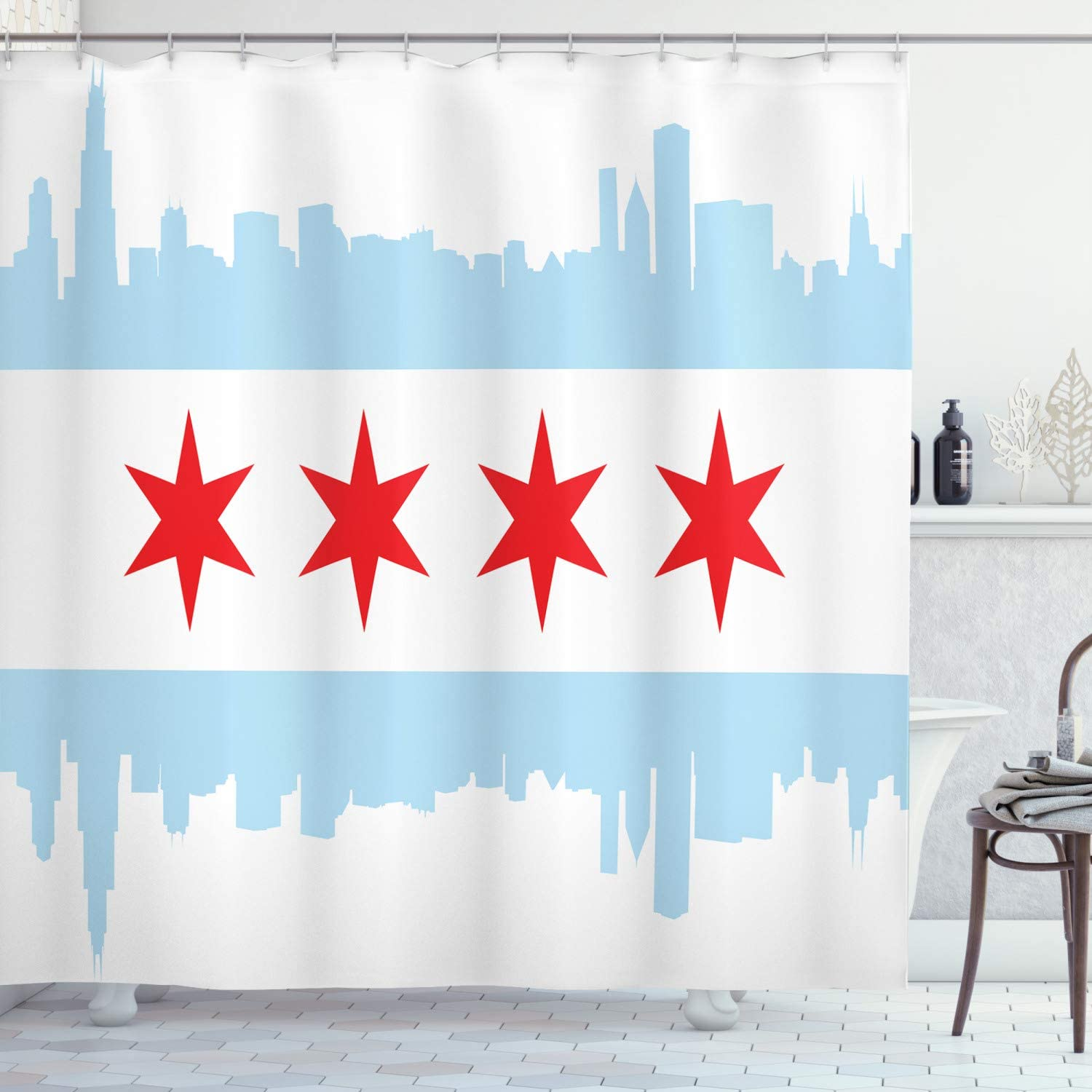 Ambesonne Chicago Skyline Shower Curtain, City of Chicago Flag with High Rise Buildings Scenery National, Cloth Fabric Bathroom Decor Set with Hooks, 70