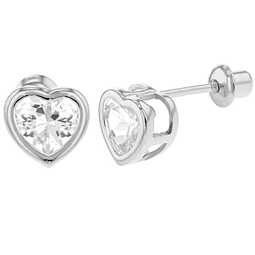 d7a6c3299 14k White Gold 4mm Basket Round Solitaire Cubic Zirconia Children Back Baby  S Earrings. Infant Earrings