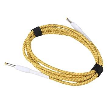 yibuy Cable de conexión 3 m amarillo para guitarra tejido de gamuza chaqueta para guitarra eléctrica Bass: Amazon.es: Instrumentos musicales