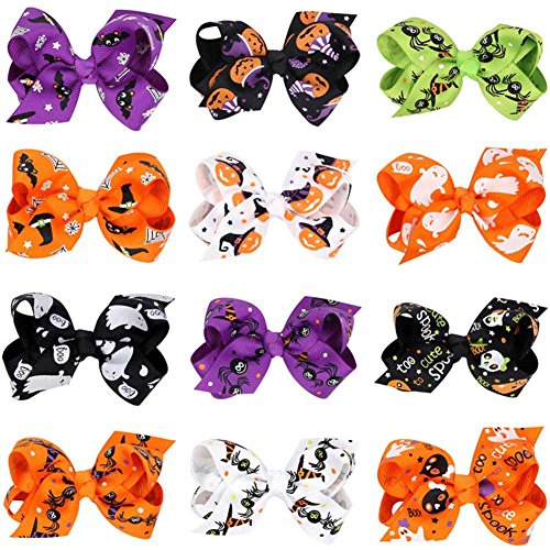 (Fuyamp Cute Baby Girls Hair Bows Rubber Bands Halloween Holiday Hair Decorations (14 Pack))