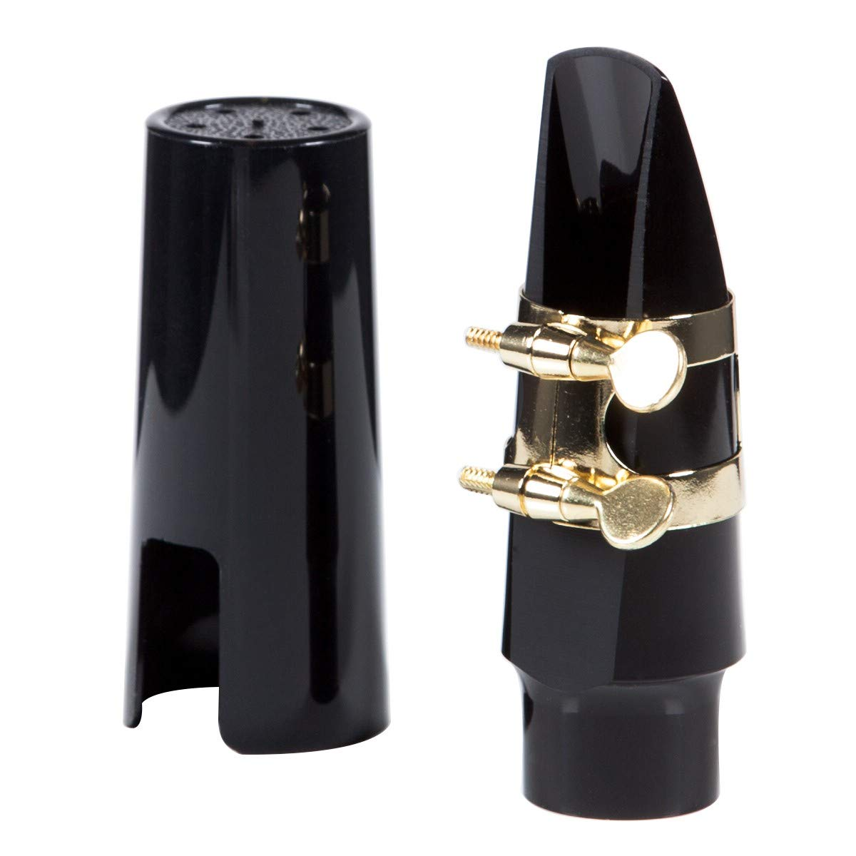 TraderPlus Alto Saxophone Mouthpiece Kit with Ligature, Reed and Cap (Silver)
