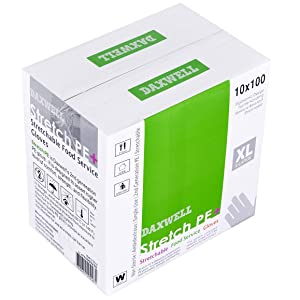 Daxwell Stretch Polyethylene Gloves, Extra Large, White, F10000226 (Case of 1,000, 10 Boxes of 100)
