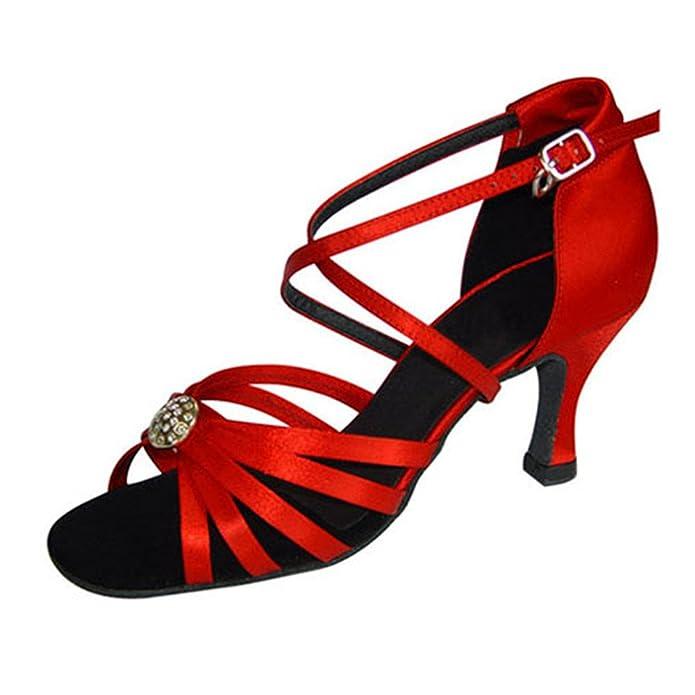 GUOSHIJITUAN Womens Red Black Latin Dance Shoes,Soft Bottom Satin High Heel Salsa Dancing Shoes Tango Social Dancing Shoes