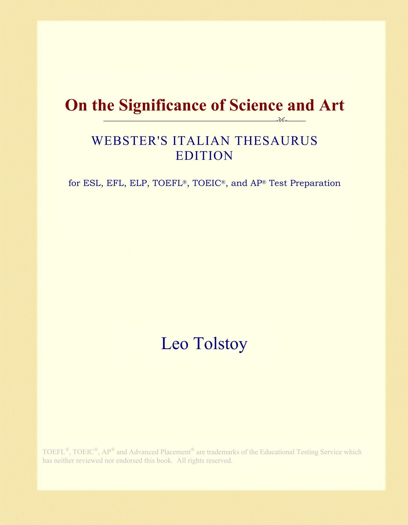 Download On the Significance of Science and Art (Webster's Italian Thesaurus Edition) ebook