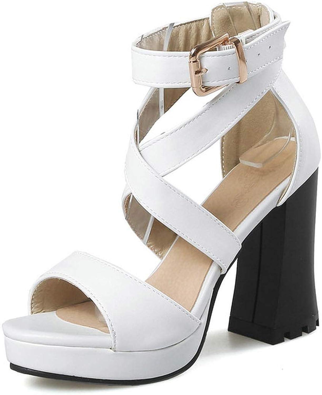 Charismatic-Vibrators Women Sandals Pu Leather Square High Heel All Match Women Shoes Platform Buckle Westrn Style Sandals
