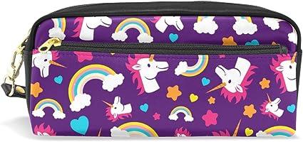 BONIPE - Estuche para lápices de unicornios de dibujos animados coloridos, estuche escolar, artículos de papelería, viajes, cosméticos, maquillaje: Amazon.es: Oficina y papelería