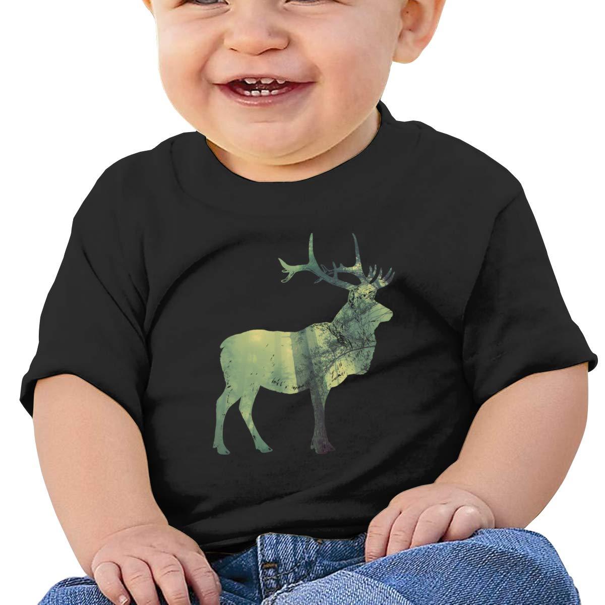 Qiop Nee Forest Mist Deer Short Sleeve Tee Baby Girls