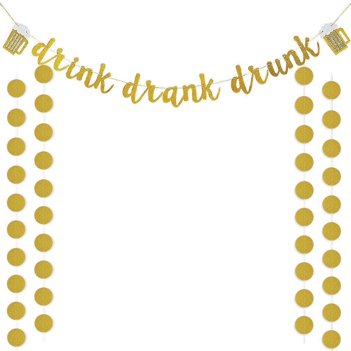 Gold Glittery Drink Drank Drunk Banner and Gold Glittery Circle Dots Garland(25pcs Circle Dots),for Bar Sign,Bachelorette,Wedding,Birthday Party Decoration by LeeSky