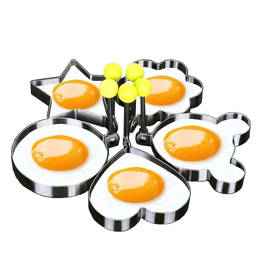 Nopea DIY Stainless Steel Egg Shaper, Fried Egg Mould, Non-Stick Egg Rings For Fried Eggs, Pancakes, Omelettes, Kitchen Tool, Pancake Rings for Frying Pan, Set of 4