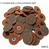 HITSAN 50pcs 3 Inch 75mm Roll Lock Sanding Disc Set Sand Paper Coarse Discs One Piece