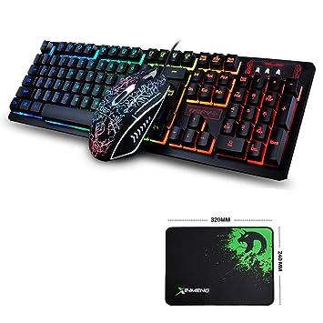 FELiCON Ratón de teclado para videojuegos con cable y retroiluminado con LED 104 teclas ergonómicas para ...
