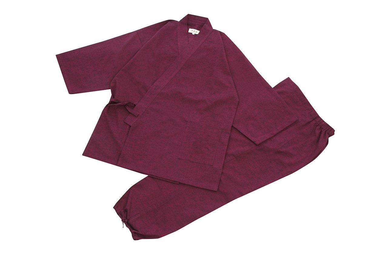 江戸てん 作務衣 久留米紬織り 日本製 高級 素材からこだわりました つむぎ メンズ B07B9WVKZB L|ギフト箱入り エンジ ギフト箱入り エンジ L